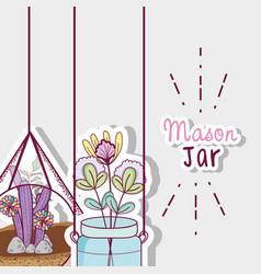 Gardening mason jars vector