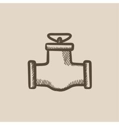 Gas pipe valve sketch icon vector
