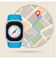 Gps concept in flat style Smart watch navigator vector