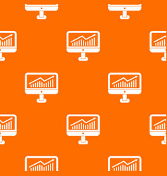 growth graph on the computer monitor pattern vector image