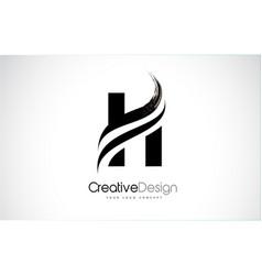 H letter design brush paint stroke vector