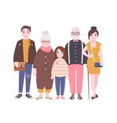 happy family with grandfather grandmother father vector image