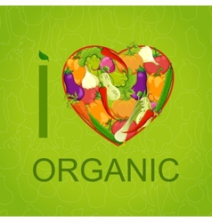 Healthy food concept Heart shape with organic vector image