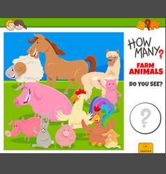 How many farm animals educational game for vector