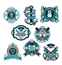 icons set of nautical and marine symbols vector image