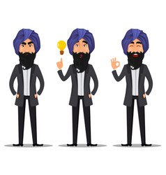 Indian business man cartoon set vector