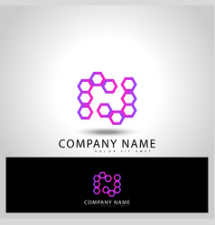 initial letter rj with shape hexagon vector image