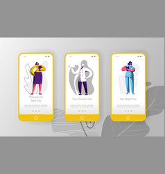 job vacancy hiring character mobile app vector image
