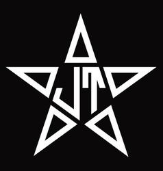 Jt logo monogram with star shape design template vector
