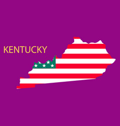 Kentucky state of america with map flag print on vector