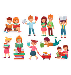 Kids read book happy kid reading books girl and vector