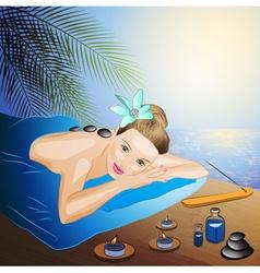 Lady Enjoying a Hot Stone Massage Cartoon vector
