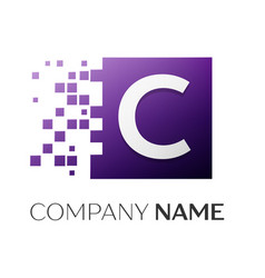 letter c logo symbol in the colorful square with vector image