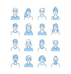 Line avatars happy people icons user flat outline vector