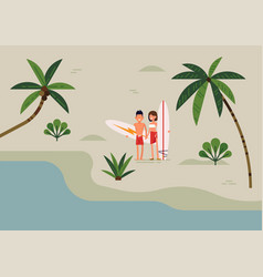 lovely in trendy flat style on young couple of vector image