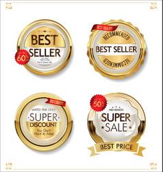 Luxury premium sale golden badges and labels vector