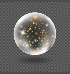 Magic 3d crystal snowglobe template vector
