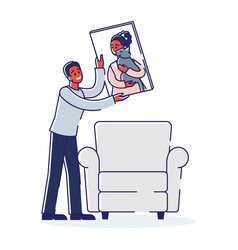 Man hang female portrait in frame on wall vector