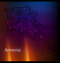 Map of armenia from polygonal blue lines vector