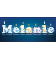 MELANIE written with burning candles vector