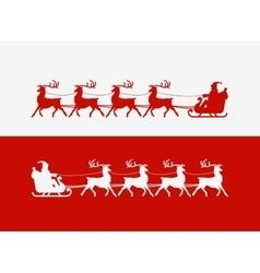 Merry Christmas greeting card Santa Claus rides vector