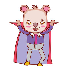 Nice bear with dracula vampire costume and cape vector