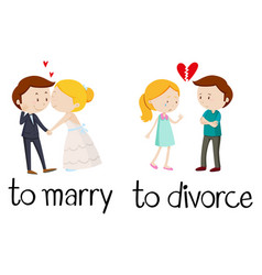 Opposite words for marry and divorce vector