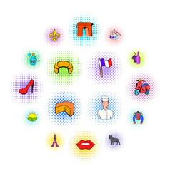 paris set icons comics style vector image