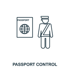 passport control icon outline thin line style vector image
