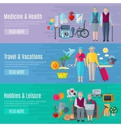 Pensioners life banners set vector