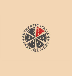 pizza authentic italian fast delivery pizzeria vector image