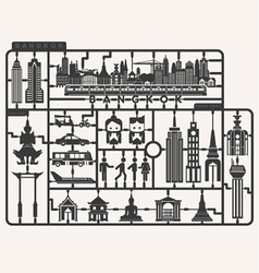 Plastic model kits required set of Bangkok city vector image