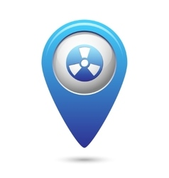 Radioactive icon on blue map pointer vector