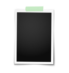 realistic classic photo frame with straight edges vector image