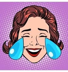 Retro emoji tears joy woman face vector