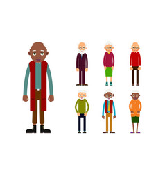 Set of diverse elderly people isolated on white vector