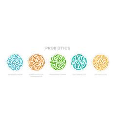 set of probiotic bacteria good microorganisms vector image