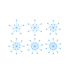 Set of snowflakes of blue lines and circles vector