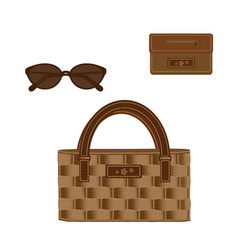 set of wicker bag decorated with a line and vector image