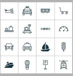 shipping icons set with parking sign auto air vector image