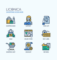 shopping - modern flat line icon set vector image
