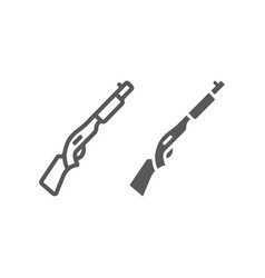 Shotgun line and glyph icon weapon and military vector