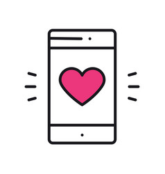 smartphone with heart emoji message on screen vector image