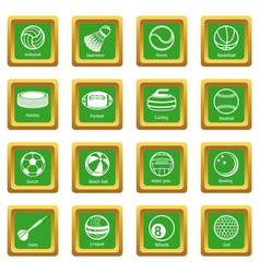 Sport balls equipment icons set green square vector