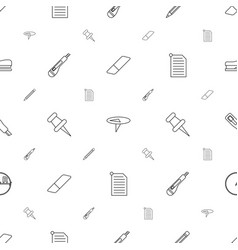 stationery icons pattern seamless white background vector image