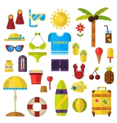 Summer symbols icons vector image