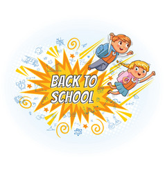 Superhero kids fly to school vector