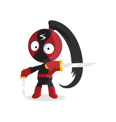 superhero ninja boy character with sword jumping vector image