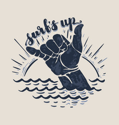 surf hand sign vector image