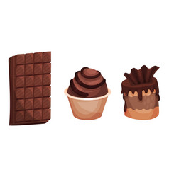 Sweet and sugary chocolate desserts with cupcake vector